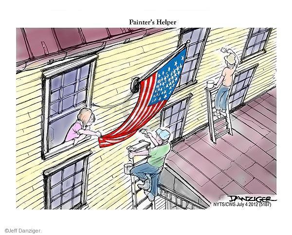 Cartoonist Jeff Danziger  Jeff Danziger's Editorial Cartoons 2012-07-04 American flag