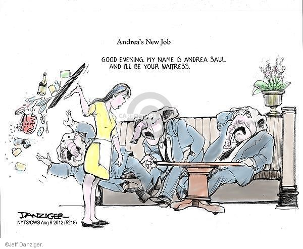 Cartoonist Jeff Danziger  Jeff Danziger's Editorial Cartoons 2012-08-09 waitress