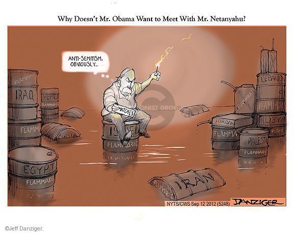 Cartoonist Jeff Danziger  Jeff Danziger's Editorial Cartoons 2012-09-12 Iran Israel