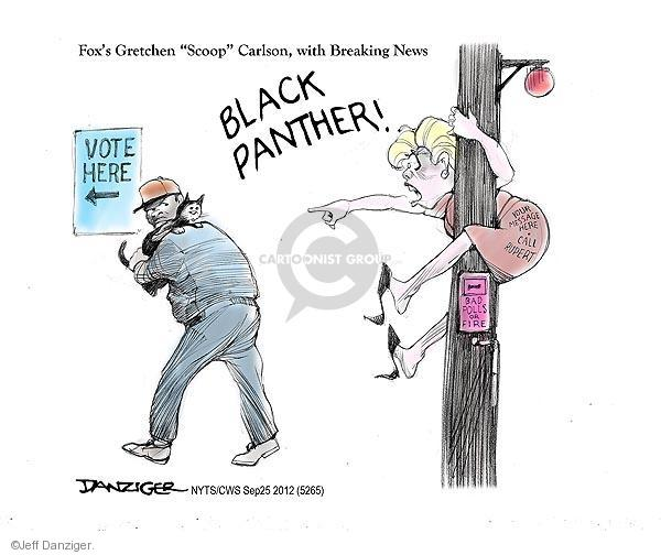 "Foxs Gretchen ""Scoop"" Carlson, with Breaking News. Black Panther! Vote here. Bad polls or fire. Your message here. Call Rupert."