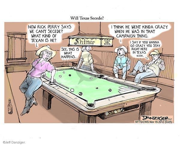 Cartoonist Jeff Danziger  Jeff Danziger's Editorial Cartoons 2012-11-15 Texas governor