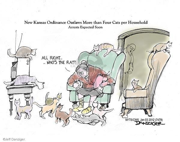 New Kansas ordinance outlaws more than four cats per household.  Arrests expected soon.  All right ... whos the rat?