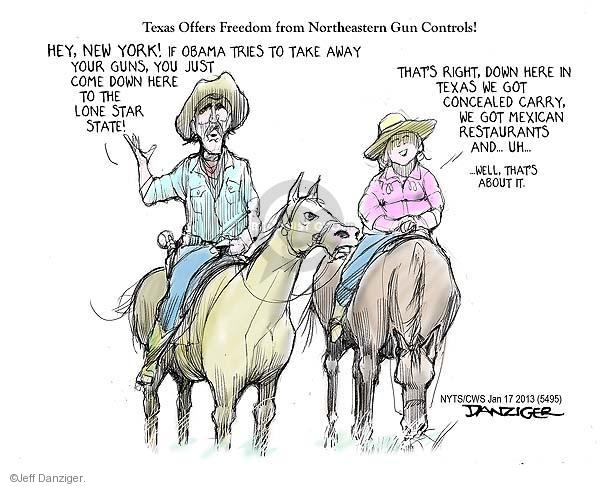 Texas Offers Freedom from Northeastern Gun Controls! Hey, New York! If Obama tries to take away your guns, you just come down here to the Lone Star State! Thats right, down here in Texas we got concealed carry. We got Mexican restaurants and … Uh … … Well, thats about it.