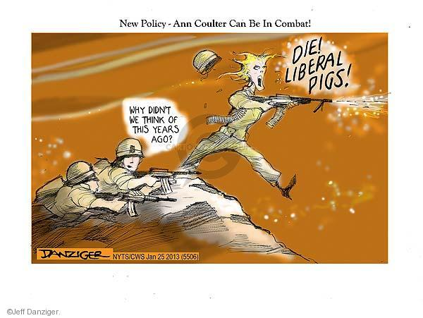 Cartoonist Jeff Danziger  Jeff Danziger's Editorial Cartoons 2013-01-25 women in military