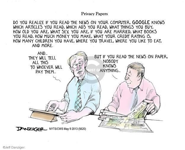 Jeff Danziger  Jeff Danziger's Editorial Cartoons 2013-05-09 technology