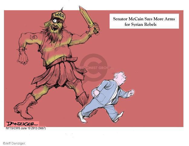 Senator McCain Says More Arms for Syrian Rebels. War. Mom.