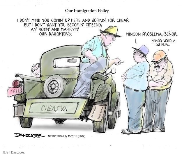 Cartoonist Jeff Danziger  Jeff Danziger's Editorial Cartoons 2013-07-15 immigration reform