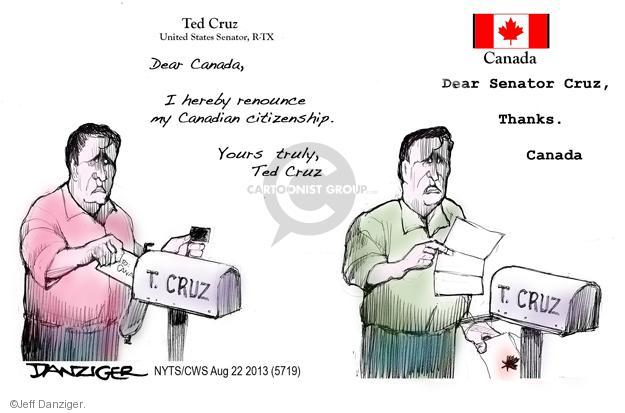 Cartoonist Jeff Danziger  Jeff Danziger's Editorial Cartoons 2013-08-22 republican politician