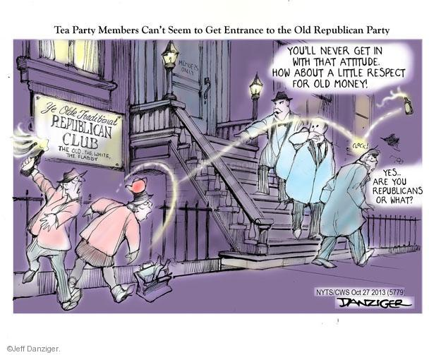 Cartoonist Jeff Danziger  Jeff Danziger's Editorial Cartoons 2013-10-28 party loyalty