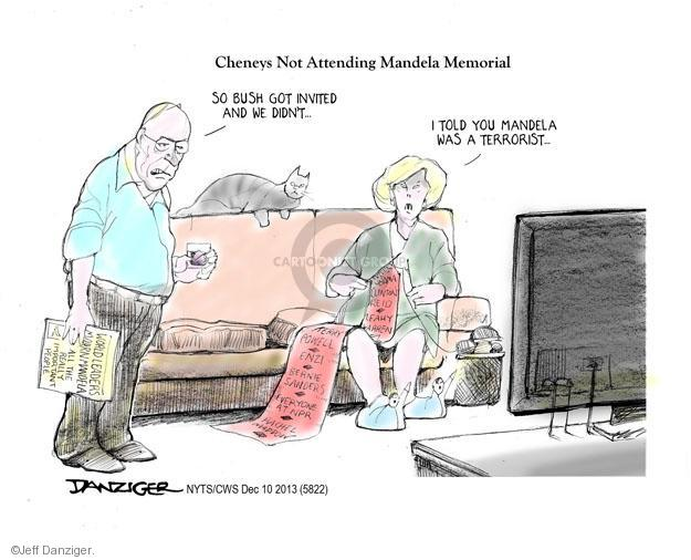 Cartoonist Jeff Danziger  Jeff Danziger's Editorial Cartoons 2013-12-10 Cheney Obama
