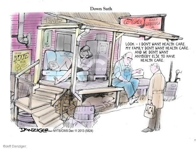 Cartoonist Jeff Danziger  Jeff Danziger's Editorial Cartoons 2013-12-11 insurance policy