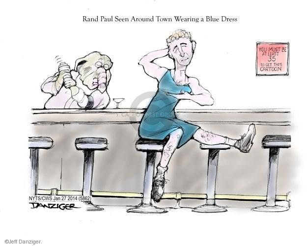 Rand Paul Seen Around Town Wearing Blue Dress. You must be at least 35 to get this cartoon.
