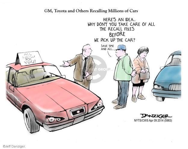 Cartoonist Jeff Danziger  Jeff Danziger's Editorial Cartoons 2014-04-09 automobile dealership