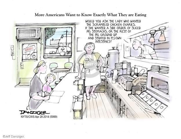 Cartoonist Jeff Danziger  Jeff Danziger's Editorial Cartoons 2014-04-28 waitress