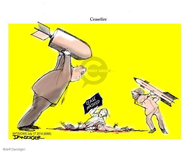 Cartoonist Jeff Danziger  Jeff Danziger's Editorial Cartoons 2014-07-17 Israeli prime minister