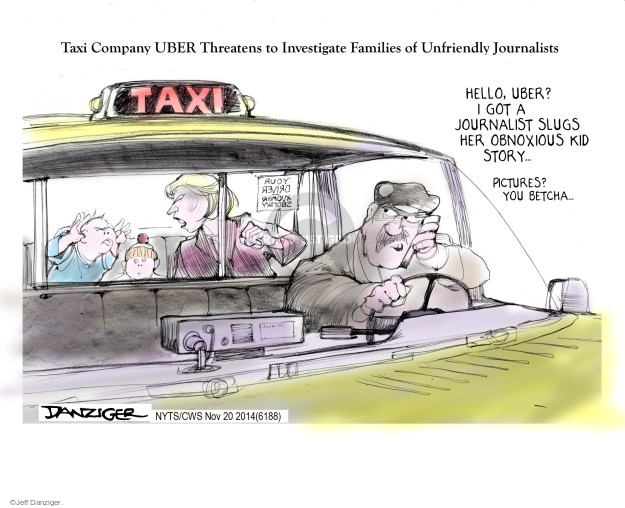 Taxi Company UBER Threatens to Investigate Families of Unfriendly Journalists. Hello, Uber? I got a journalist slugs her obnoxious kid story … Pictures? You betcha …