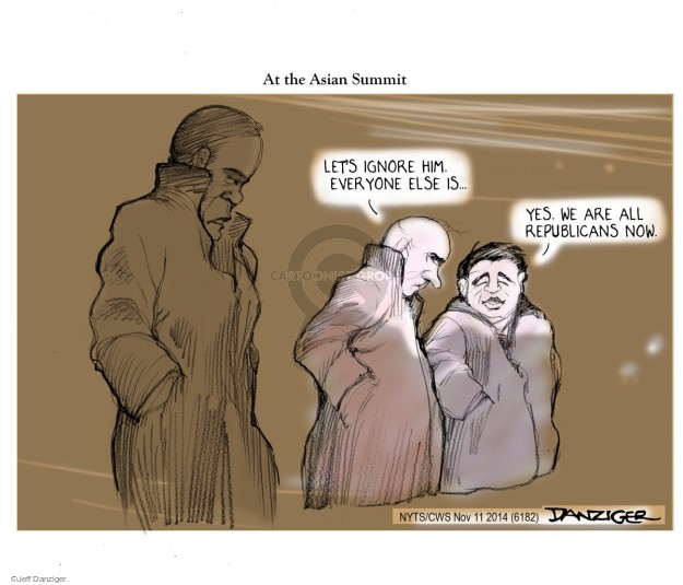 Cartoonist Jeff Danziger  Jeff Danziger's Editorial Cartoons 2014-11-11 Obama republicans
