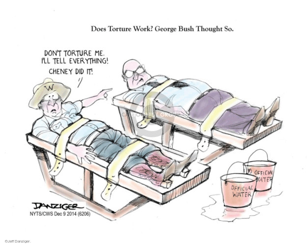 Cartoonist Jeff Danziger  Jeff Danziger's Editorial Cartoons 2014-12-10 George W. Bush