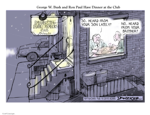 Cartoonist Jeff Danziger  Jeff Danziger's Editorial Cartoons 2015-02-19 George W. Bush