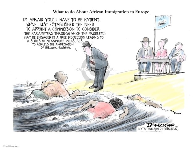 Cartoonist Jeff Danziger  Jeff Danziger's Editorial Cartoons 2015-04-21 migration