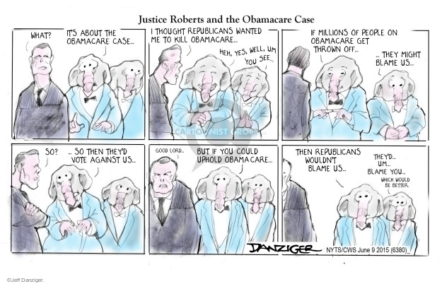 Cartoonist Jeff Danziger  Jeff Danziger's Editorial Cartoons 2015-06-10 affordable care act