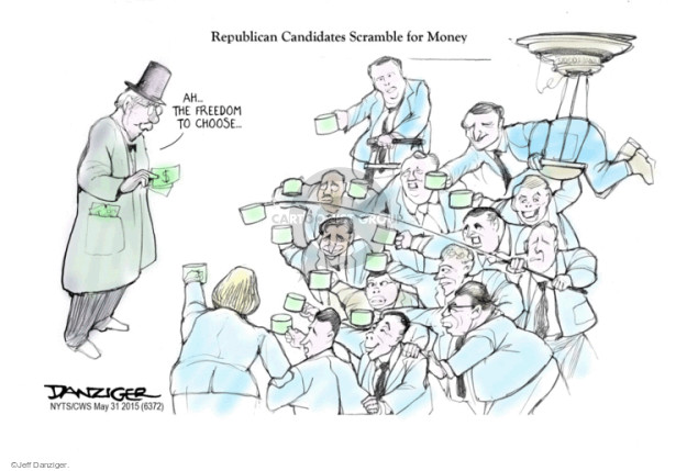 Cartoonist Jeff Danziger  Jeff Danziger's Editorial Cartoons 2015-05-31 political donation