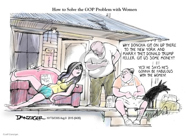 Cartoonist Jeff Danziger  Jeff Danziger's Editorial Cartoons 2015-08-09 women candidates