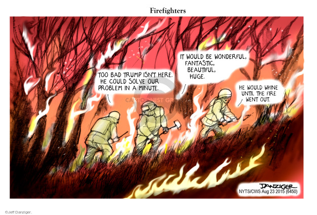 Cartoonist Jeff Danziger  Jeff Danziger's Editorial Cartoons 2015-08-23 forest fire