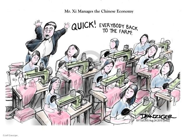 Jeff Danziger  Jeff Danziger's Editorial Cartoons 2015-08-24 factory worker