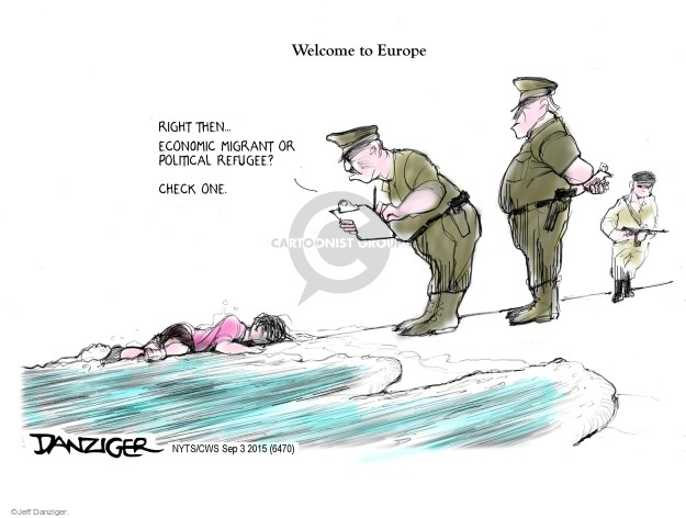 Cartoonist Jeff Danziger  Jeff Danziger's Editorial Cartoons 2015-09-03 migration