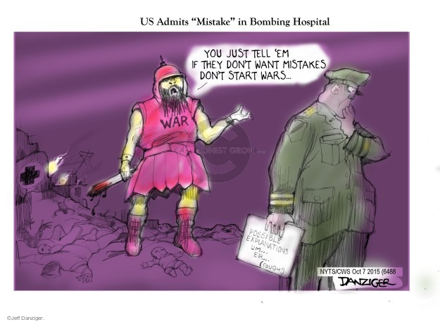 Cartoonist Jeff Danziger  Jeff Danziger's Editorial Cartoons 2015-10-07 hospital