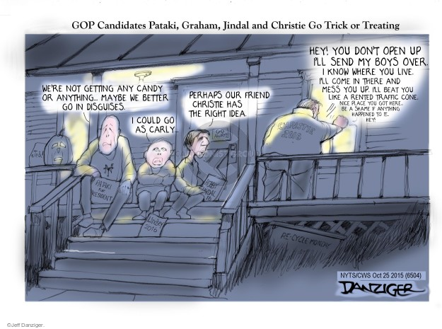 Cartoonist Jeff Danziger  Jeff Danziger's Editorial Cartoons 2015-10-25 trick or treat