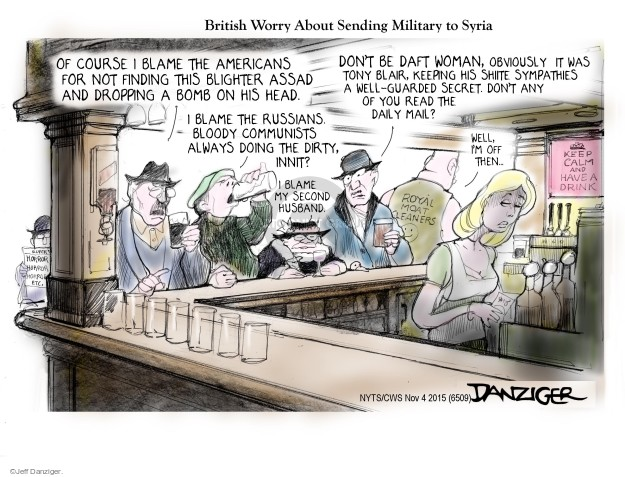 Cartoonist Jeff Danziger  Jeff Danziger's Editorial Cartoons 2015-11-04 bomb