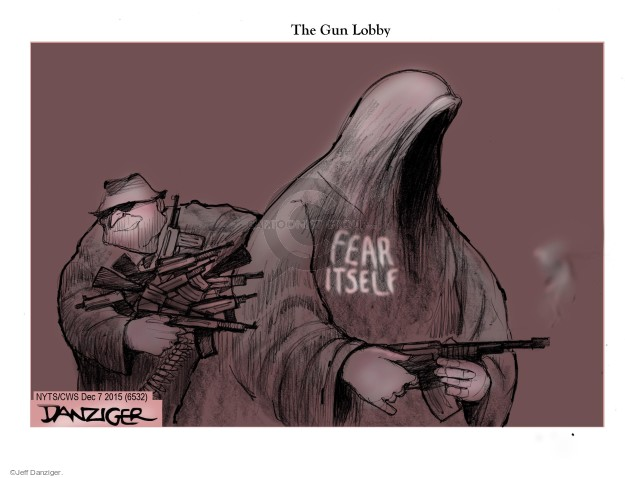 Cartoonist Jeff Danziger  Jeff Danziger's Editorial Cartoons 2015-12-07 gun rights