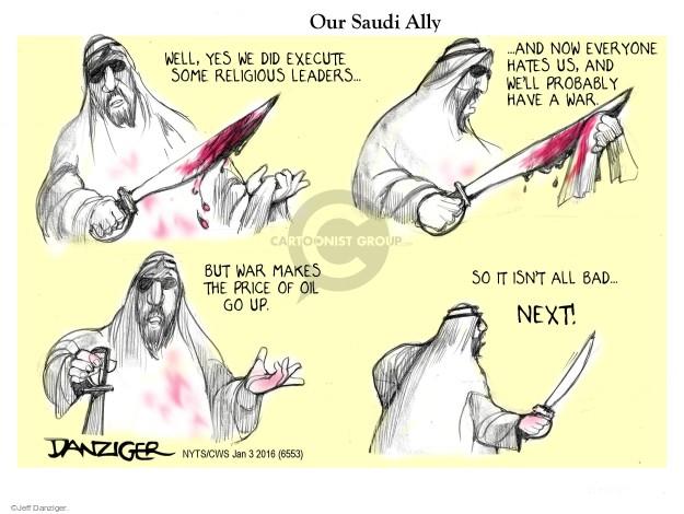 Cartoonist Jeff Danziger  Jeff Danziger's Editorial Cartoons 2016-01-04 religious leader