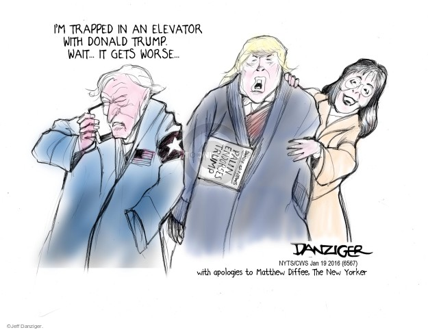 Cartoonist Jeff Danziger  Jeff Danziger's Editorial Cartoons 2016-01-19 endorsement