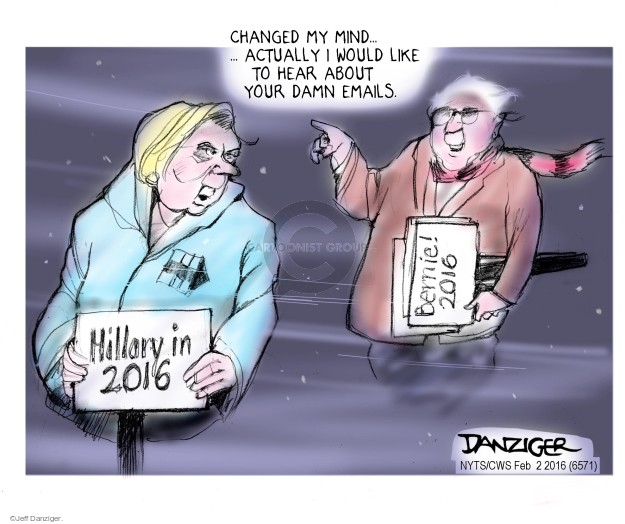 Jeff Danziger  Jeff Danziger's Editorial Cartoons 2016-02-02 Bernie Sanders