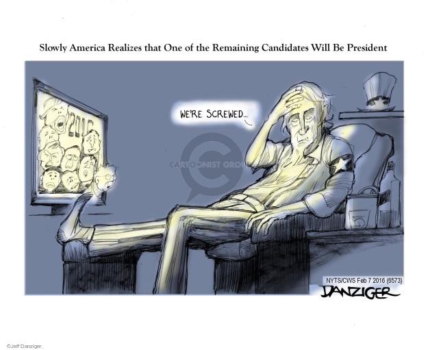 Cartoonist Jeff Danziger  Jeff Danziger's Editorial Cartoons 2016-02-07 campaign