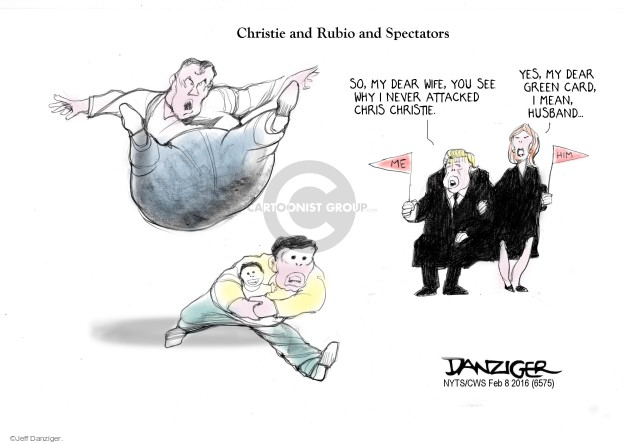 Cartoonist Jeff Danziger  Jeff Danziger's Editorial Cartoons 2016-02-08 Chris Christie