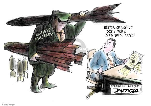 Cartoonist Jeff Danziger  Jeff Danziger's Editorial Cartoons 2016-02-18 bomb