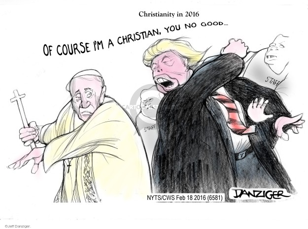 Cartoonist Jeff Danziger  Jeff Danziger's Editorial Cartoons 2016-02-18 religion