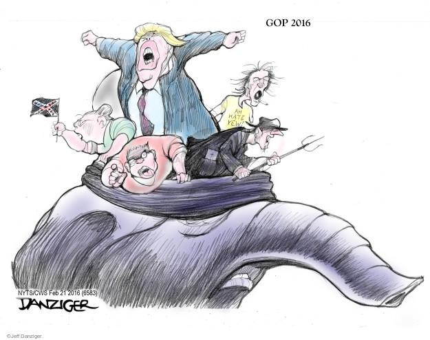 Cartoonist Jeff Danziger  Jeff Danziger's Editorial Cartoons 2016-02-21 candidates republicans