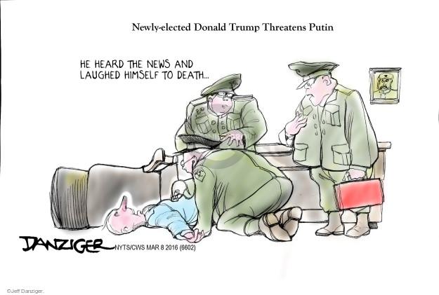 Cartoonist Jeff Danziger  Jeff Danziger's Editorial Cartoons 2016-03-08 threaten