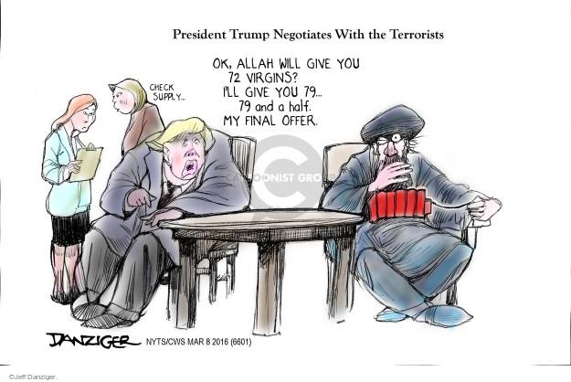 Cartoonist Jeff Danziger  Jeff Danziger's Editorial Cartoons 2016-03-08 negotiation