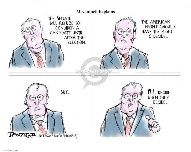 Cartoonist Jeff Danziger  Jeff Danziger's Editorial Cartoons 2016-03-20 obstruction