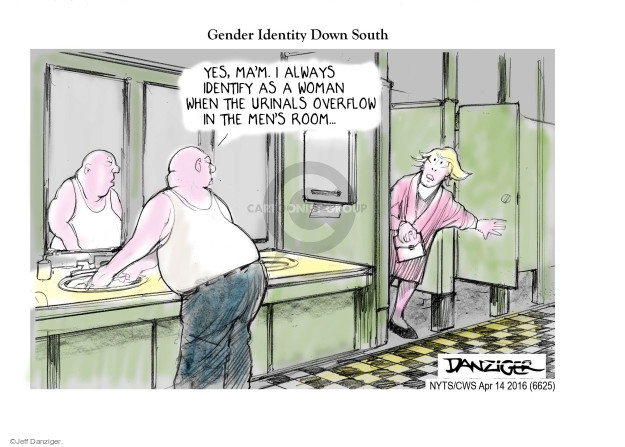 Cartoonist Jeff Danziger  Jeff Danziger's Editorial Cartoons 2016-04-14 discrimination