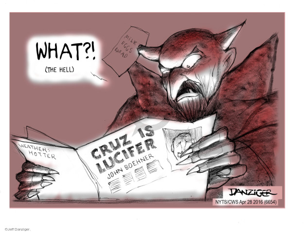 Cartoonist Jeff Danziger  Jeff Danziger's Editorial Cartoons 2016-04-28 devil