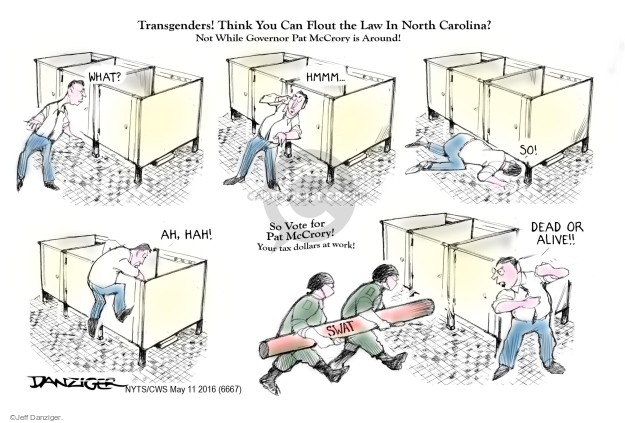 Cartoonist Jeff Danziger  Jeff Danziger's Editorial Cartoons 2016-05-11 discrimination