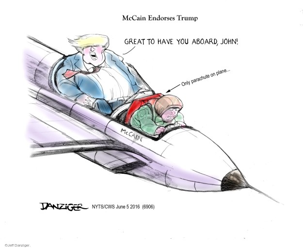 Cartoonist Jeff Danziger  Jeff Danziger's Editorial Cartoons 2016-06-05 endorsement
