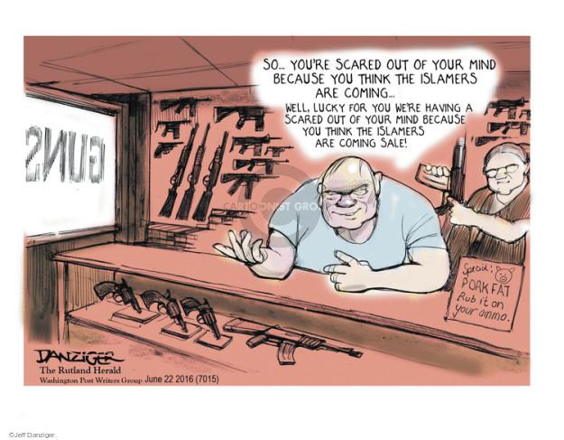 Cartoonist Jeff Danziger  Jeff Danziger's Editorial Cartoons 2016-06-22 gun rights